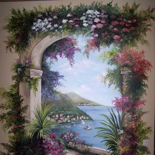 Italian Walkway with Trompe L'oeil Trellis