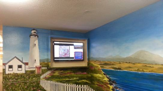 Office Mural Lighthouse and Coastal Town