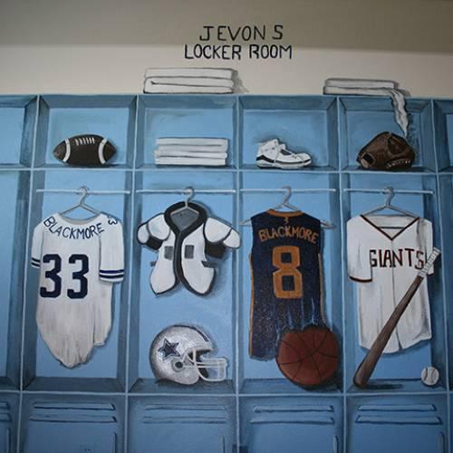 Sports Locker Room Kids Hand Painted Mural