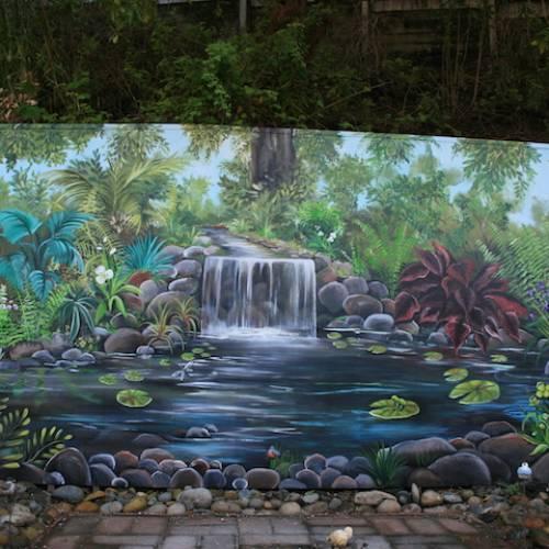 Exterior Waterfall Mural
