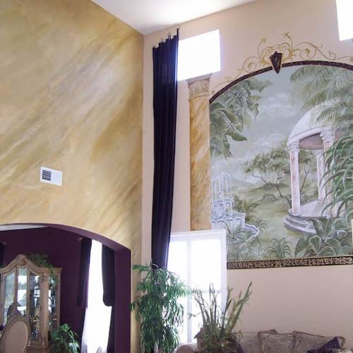 Gazebo Mural with Faux Marble