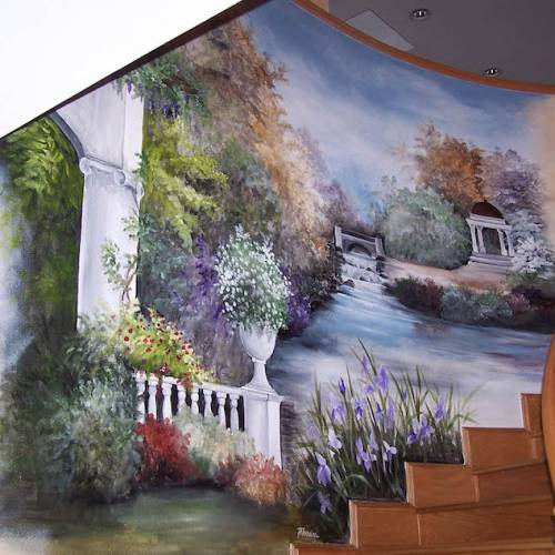 Tranquil Stream Mural Along Staircase